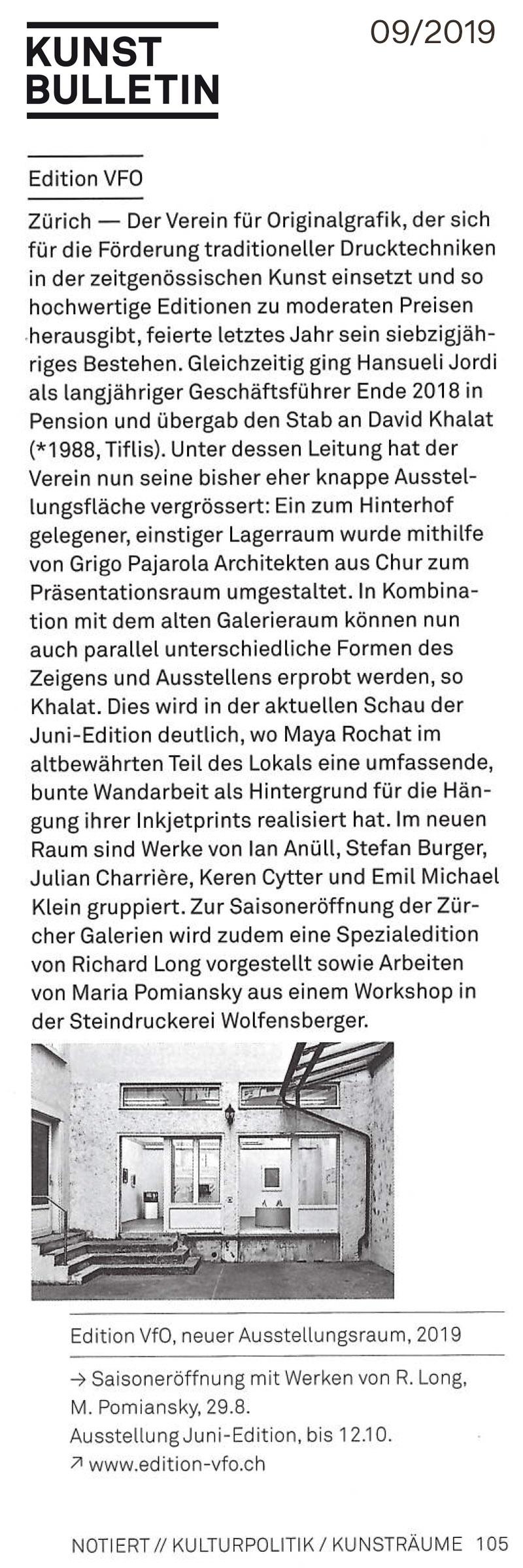 Kunstbulletin 09/2019