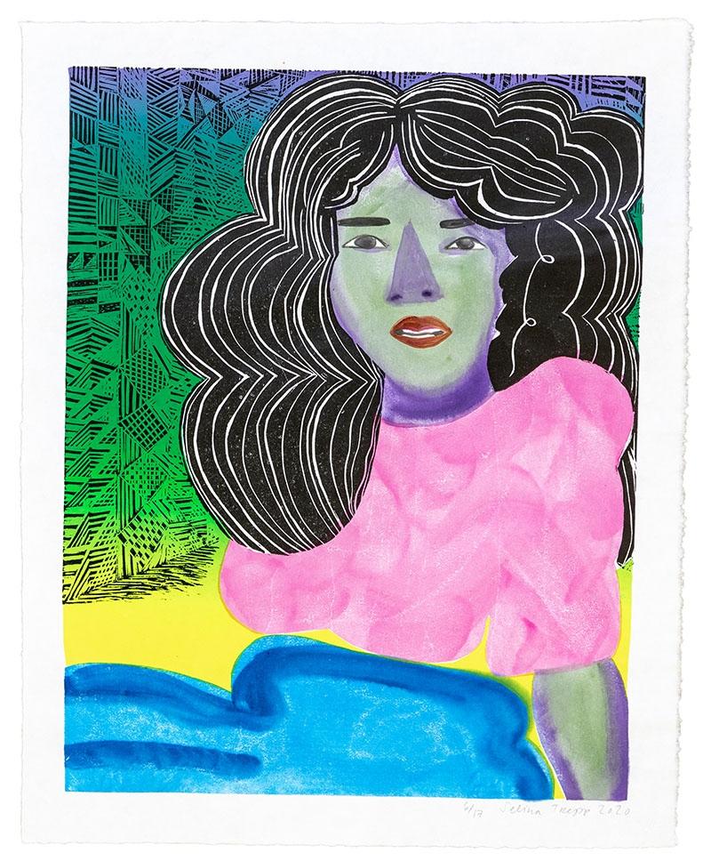 """Selina Trepp, """"I'm Speaking"""", 2020, Holzschnitt, Siebdruck und von Hand applizierte Wasserfarbe, 50,8 x 41 cm."""